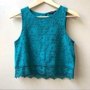 Ambiance Festival Crochet Lace Crop Top Aqua S
